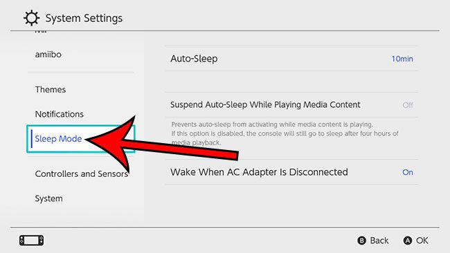 select the Sleep Mode option