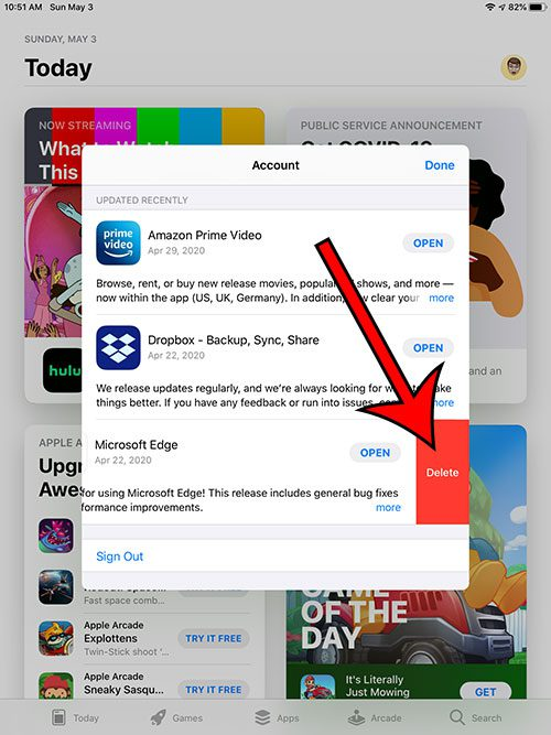 deleting an iPad app through the App Store