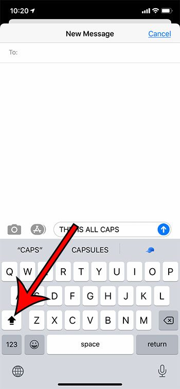 how to use caps lock on iPhone 11