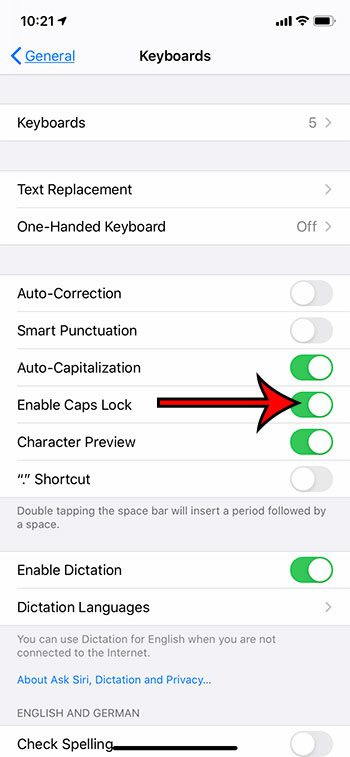 enable the caps lock iPhone setting