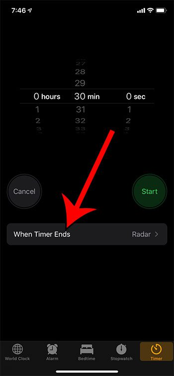 touch the When Timer Ends button