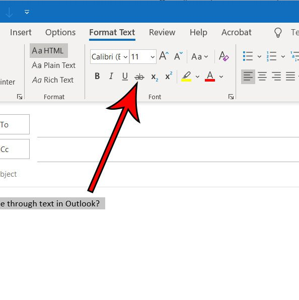 how to strikethrough text in Outlook