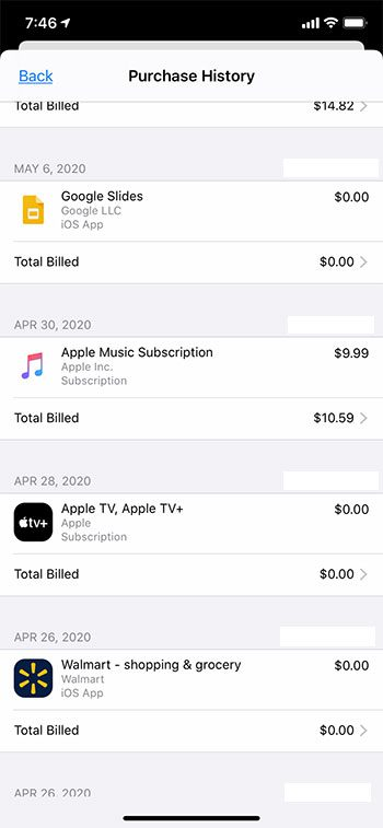 how to view your Apple ID purchase history on an iPhone 11
