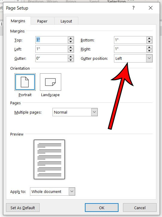how to change gutter position in Microsoft Word 2016