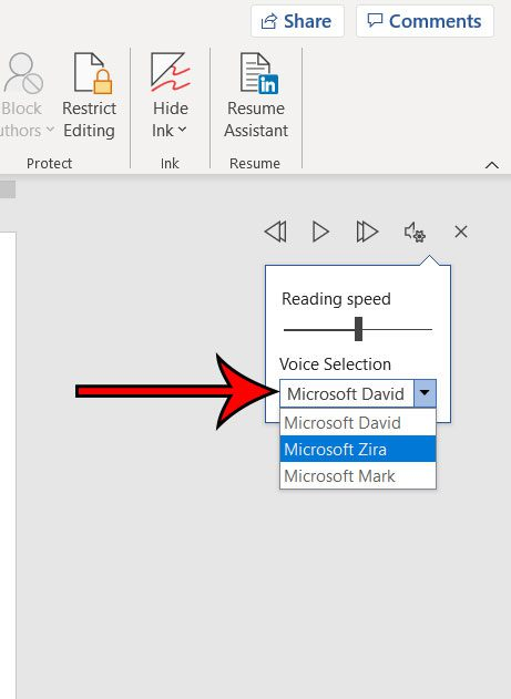 how to change the Microsoft Word reading voice