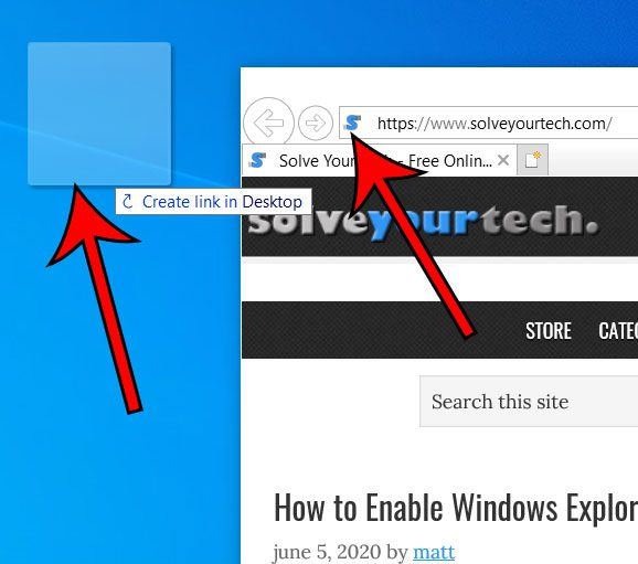 how to create an Internet shortcut in Windows 10