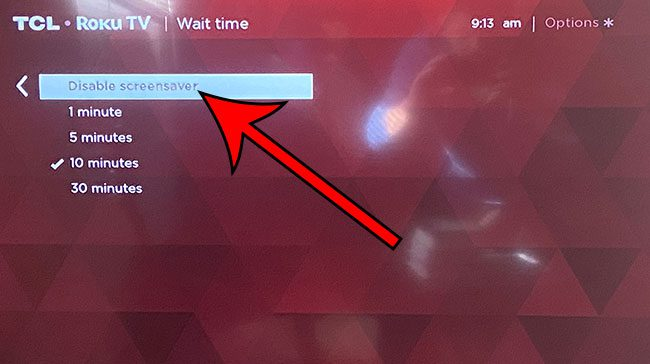 how to disable the screensaver on a Roku TV