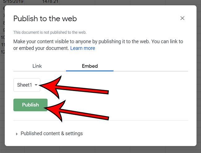 how to embed Google Sheets