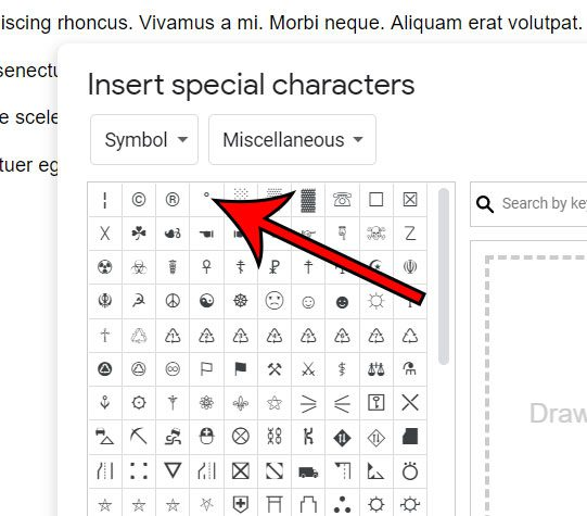 how to insert a degree symbol in Google Docs