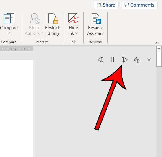 Microsoft Word read aloud controls