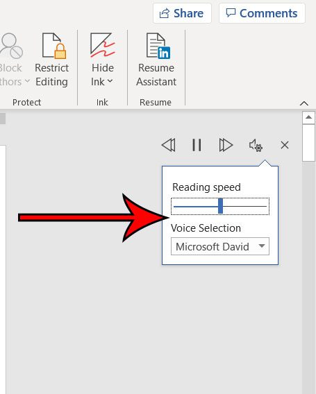 how to change settings for Microsoft Word Read Aloud tool