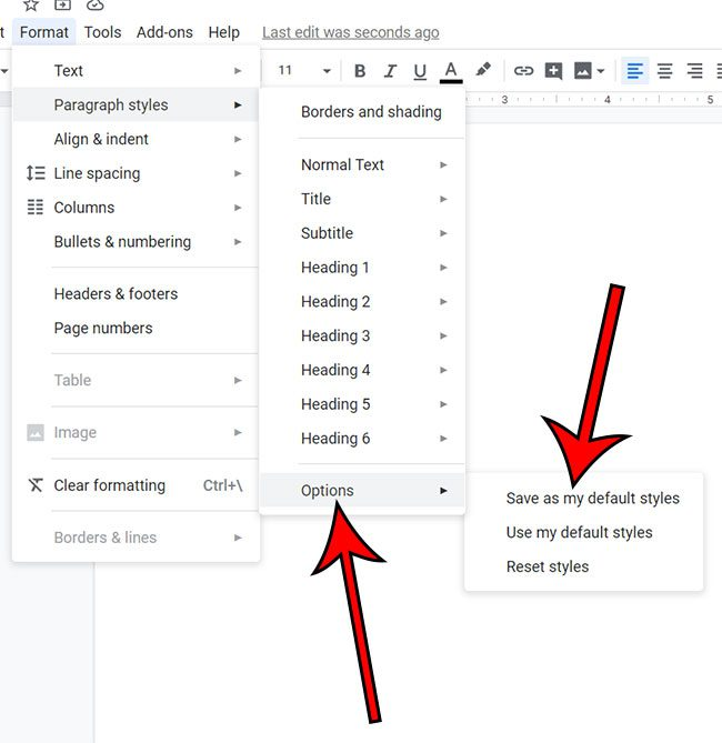 how to change the default font in Google Docs