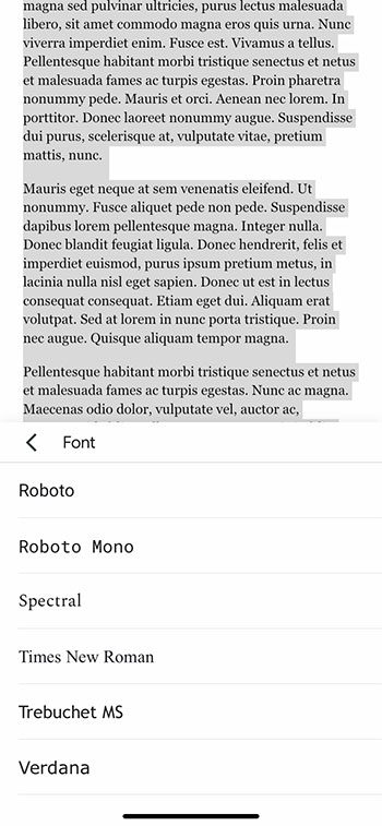 how to change the font in the Google Docs iPhone app