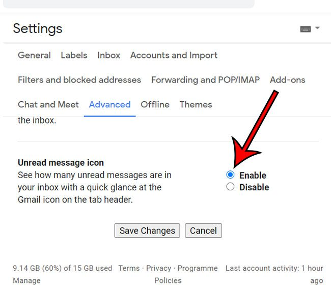 how to enable the unread message icon in Gmail