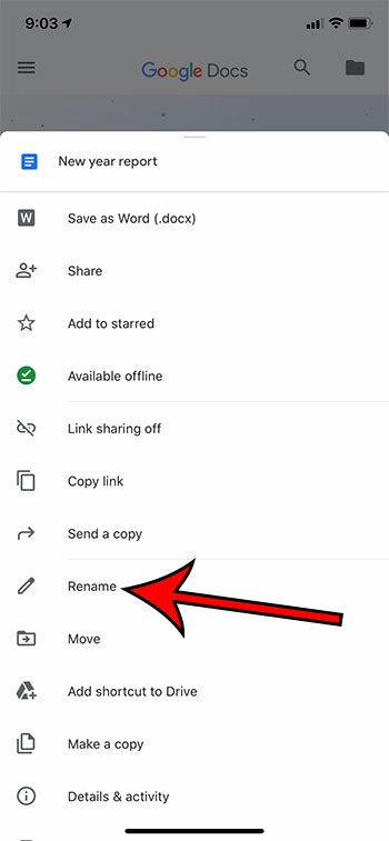how to rename a file in the Google Docs iPhone app