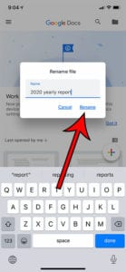how to change a file name in Google Docs on an iPhone