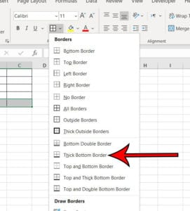 how to add a thick bottom border in Excel