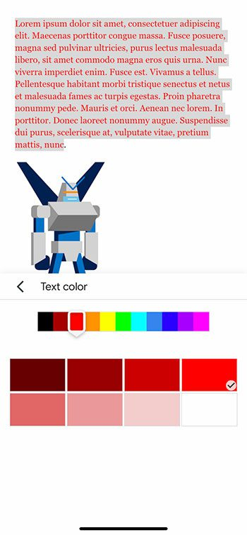how to change text color in the Google Docs iPhone app