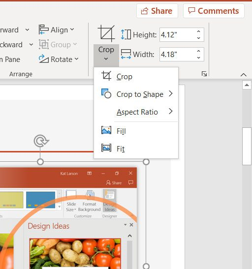 additional cropping options in Powerpoint