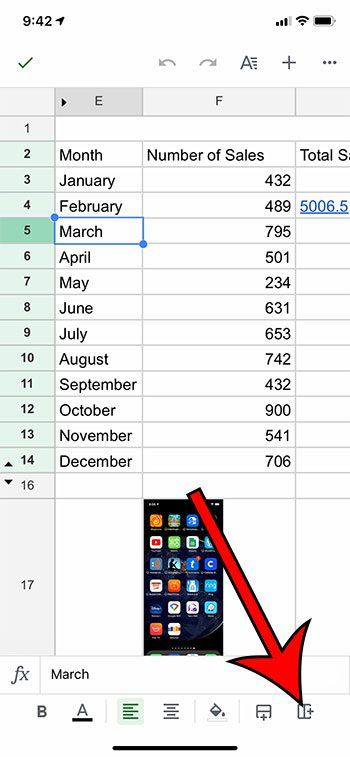 how to insert a column in the Google Sheets iPhone app
