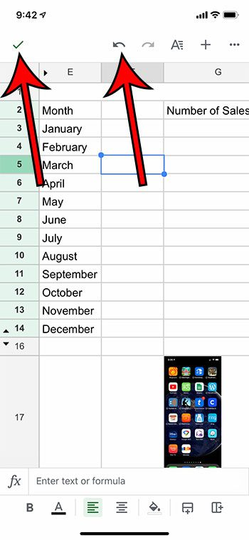 how to save or undo in Google Sheets on an iPhone