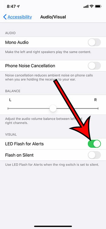 how to enable LED light iPhone notifications