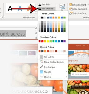 how to outline text in a Microsoft Powerpoint slide