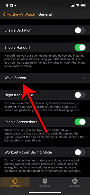 touch the Wake Screen button