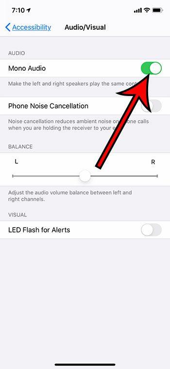 how to switch to mono audio on an iPhone 11