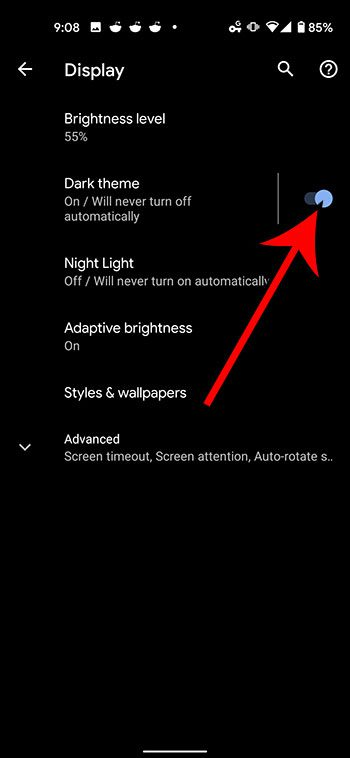 how to enable dark mode on a Google Pixel 4A