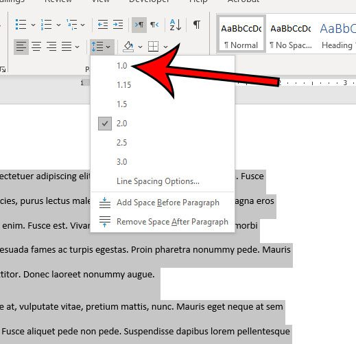 how to single space in Word