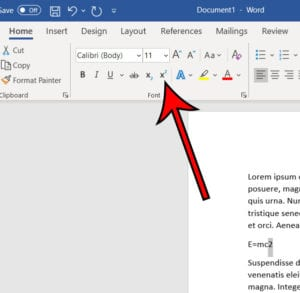 how to type an exponent in word