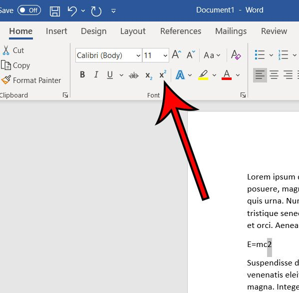 how to type an exponent in Microsoft Word for Office 365