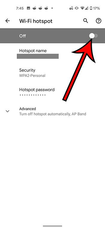how to turn on the Wi-Fi hotspot on a Google Pixel 4A