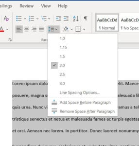Microsoft Word line spacing too big