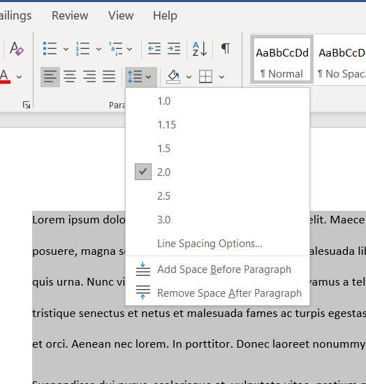 what to do if Microsoft Word line spacing is too big