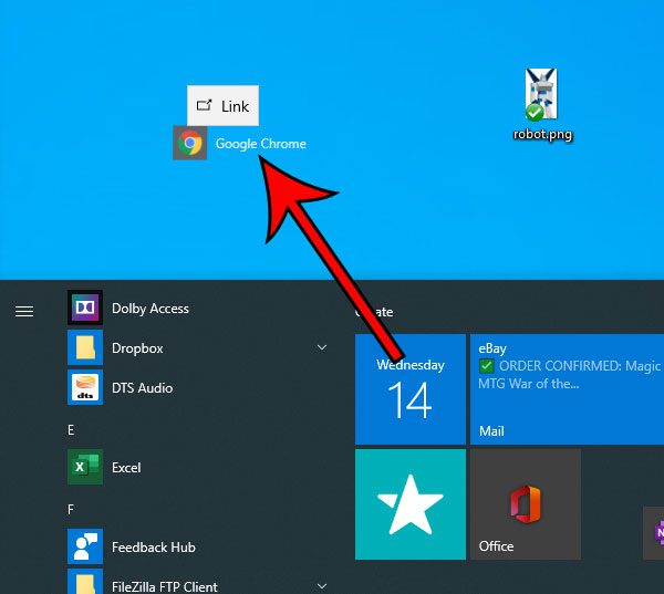 how to add Google Chrome to the desktop in Windows 10