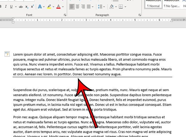 how to add a solid line in Word