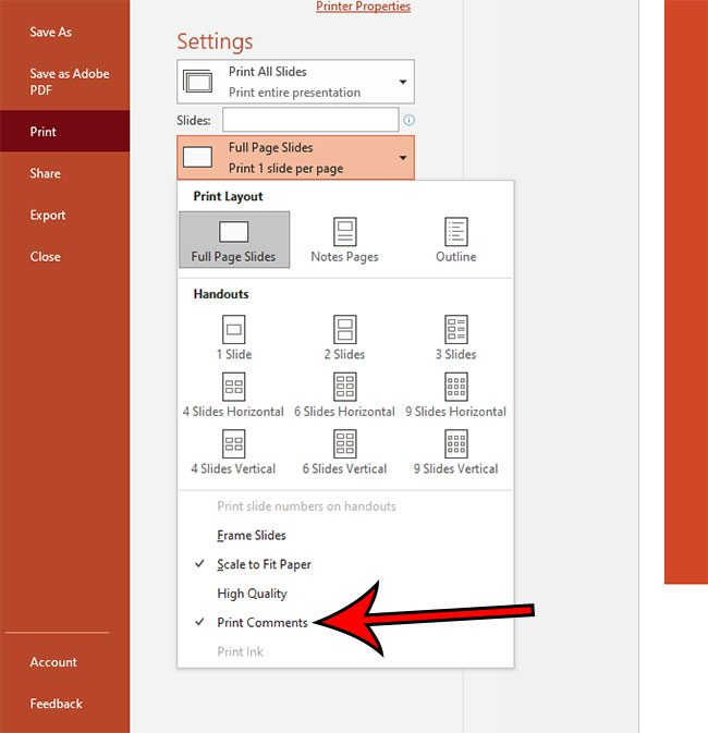 how to print Powerpoint with comments