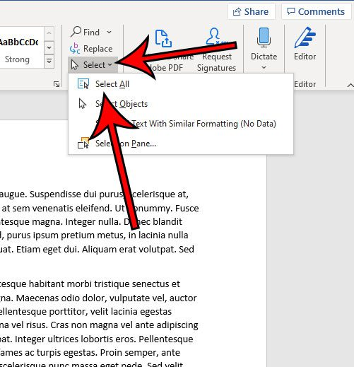 how to select all in Microsoft Word for Office 365