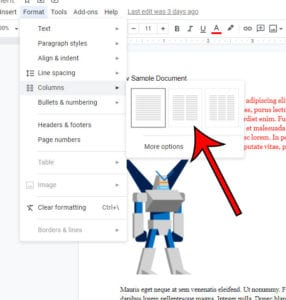 how to split a document in half in Google Docs