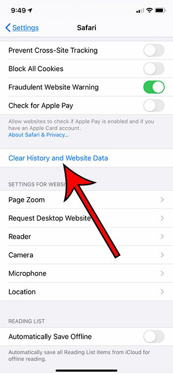 clear history and website data iphone
