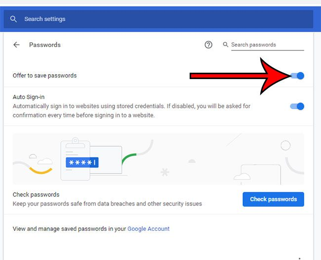 how to save passwords in Chrome in Windows 10