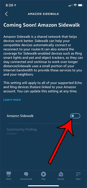 how to turn off Amazon Sidewalk on the Alexa iPhone app