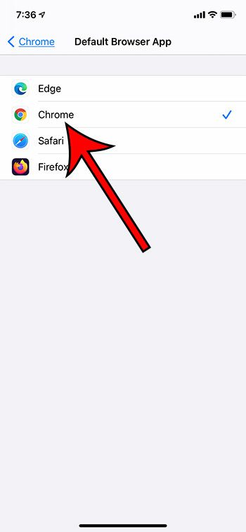 how to make Google Chrome the default browser on an iPhone