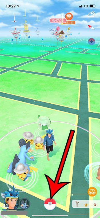 touch the Pokeball icon