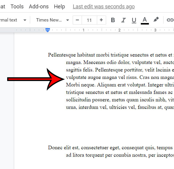example of a hanging indent in Google Docs