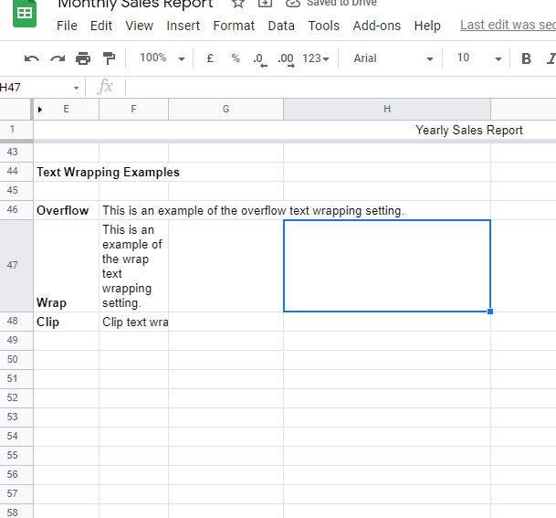 Google Sheets text wrapping examples