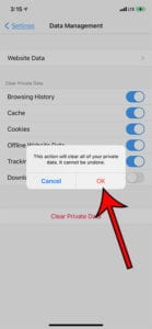 how clear history and cookies in Firefox iPhone