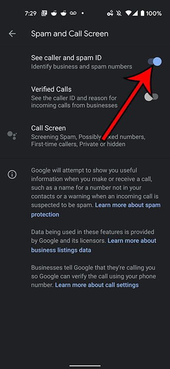 how to enable business and spam ID on the Google Pixel 4A